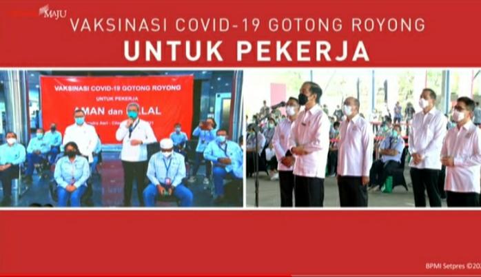 Presiden Meninjau Vaksinasi Gotong Royong di Bekasi